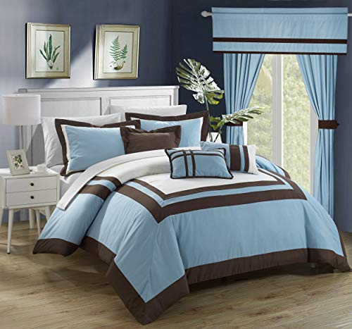 Chic Home CS4111-AN Ritz 20 Piece Comforter Set Color Block Bed in a Bag with Sheets Curtains, King, Blue