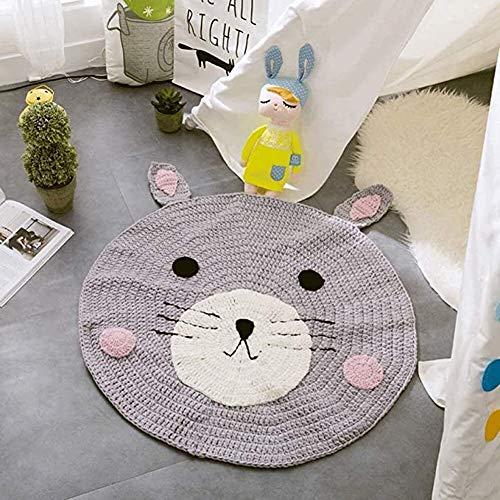 Luoying Nordic Nette Runde Krabbeln Mat Teppich Fußmatten handgewebten Teppich Kugel Erkerfenster Mat Knitting Wolldecke 80 * 80 cm Runde Mats,Bear