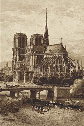 Notre-Dame Eglise Cathédrale de Paris: Le cahier ligné vide avec couverture d'Alfred-Alexandre Delauney entre 1867-1890