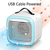 HR-Come Aire Acondicionado portátil, Mini enfriador de aire personal de escritorio, 2 velocidades, te enfría en verano caliente azul