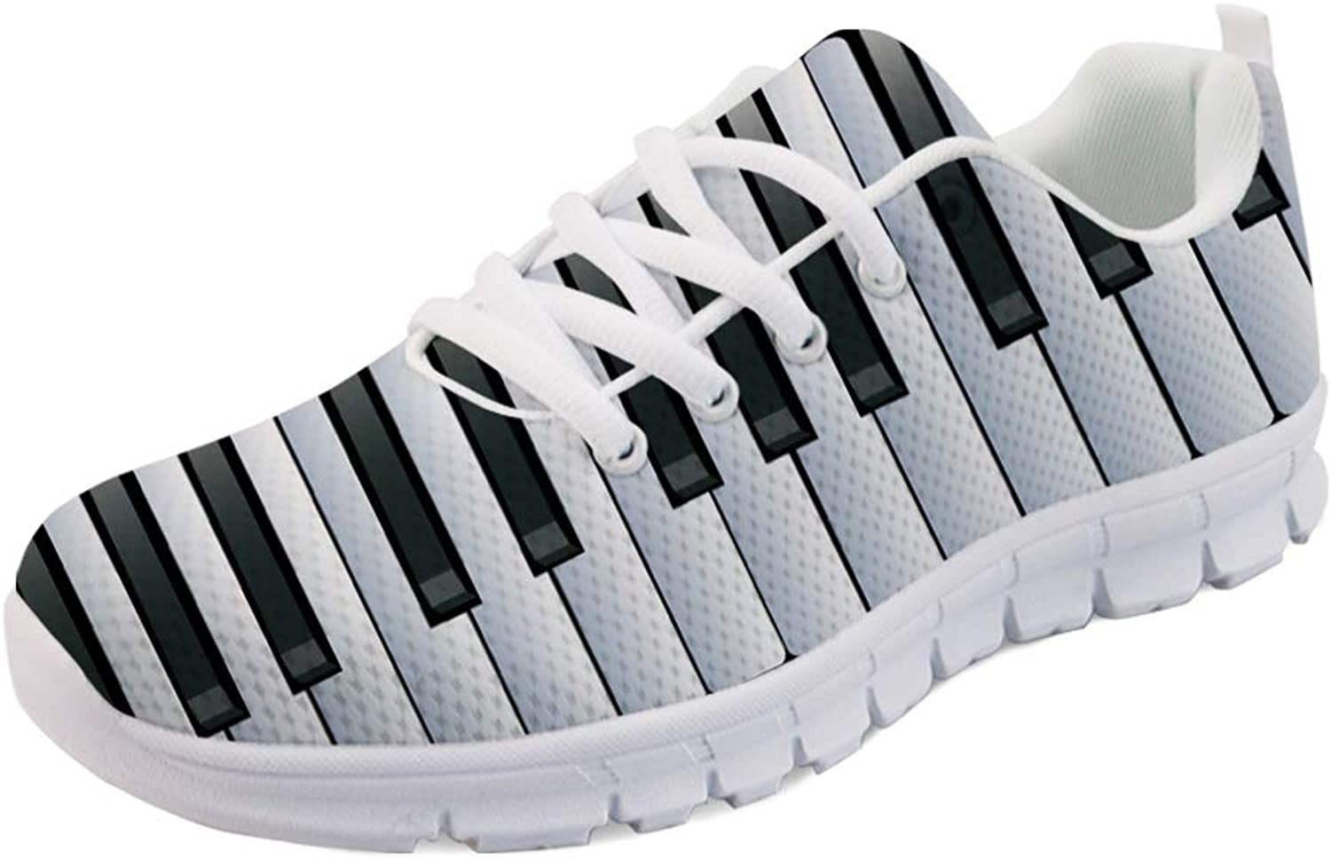 INSTANTARTS Music Note Piano Keyboard Fashion Sneaker Women Sport shoes Lace up