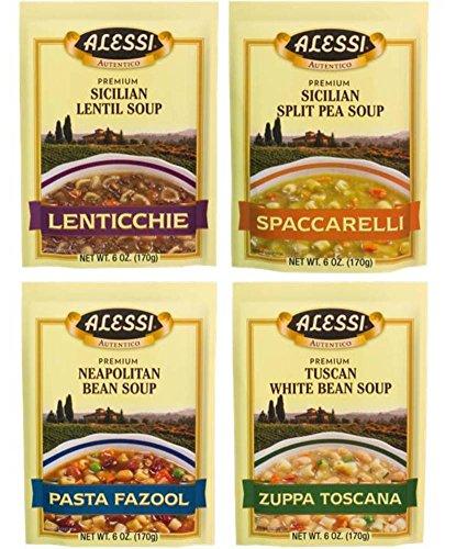 Alessi Athentic Italian Soup Mix 4 Flavor Variety Bundle: (1) Tuscan White Bean Soup, (1) Sicilian Lentil Soup, (1) Sicilian Split Pea Soup, and (1) Neapolitan Bean Soup, 4-6 Oz Ea