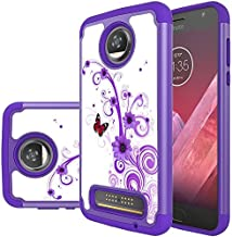 Moto Z2 Force Case, MicroP Dual Layer Silicone Armor Defender Phone Case for Motorola Moto Z2 Force Droid/Moto Z Force (2nd Generation)(Armor Purple Flower)