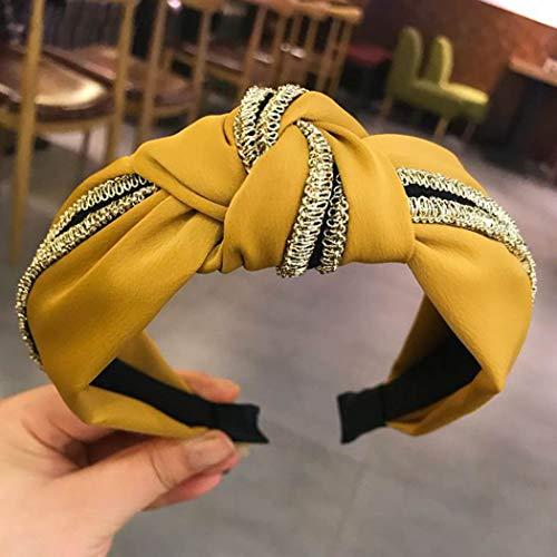 Diadema de tela para mujer, con nudo, estilo turbante, algodón (dorada, 1 unidad) amarillo amarillo talla única