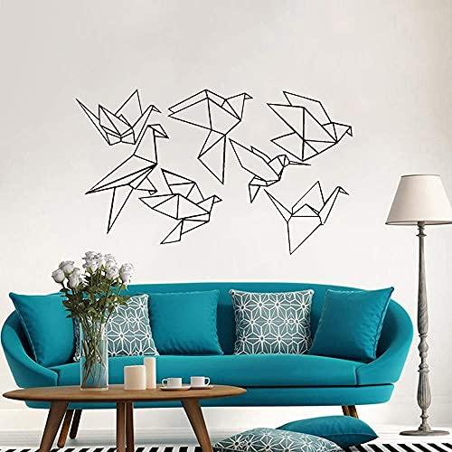 Calcomanía De Pared De Pájaro De Origami Geométrico Vivero Art Deco Pájaro Volador Vinilo Pegatina Decoración De Dormitorio Sala De Estar 43X72Cm
