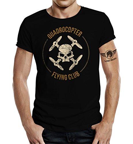 LOBO NEGRO Original Design T-Shirt für den Drohnen-Piloten: Quadrocopter Flying Club-XXL