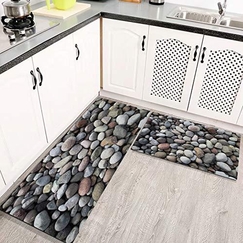 Alfombras Cocina Goma Alfombra de Baño Ducha 2PCS Lecho de río Piedras de Grava Roca Natural, alfombras de Cocina Antideslizantes Lavables