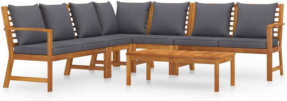 vidaXL Solid Acacia Wood Garden Lounge Set with Cushion 6 Piece Outdoor Patio Balcony Backyard Terrace Porch Seating Home Furniture Set