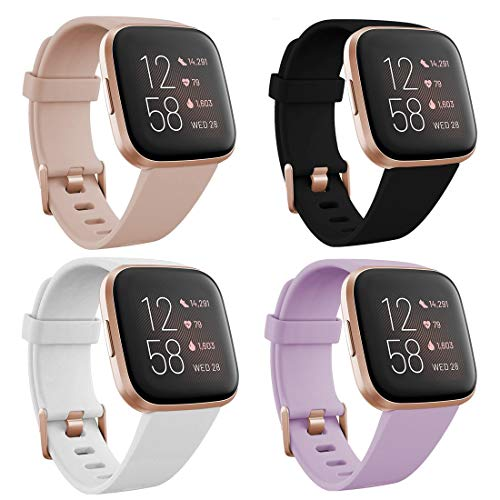 TECKMICO Fitbit Versa 2 Wristband,4-PACK Soft Sport Bands Replacement for Fitbit Versa/Versa 2/Fitbit Versa Lite with Rose Gold Watch Buckle for Women Gift (Black/White/Sand Pink /Lavender, Small)