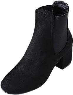 Women's Boots Leopard Print Suede Women Chunky Heels Ankle Booties Ladies Short Boots,Black,35,C