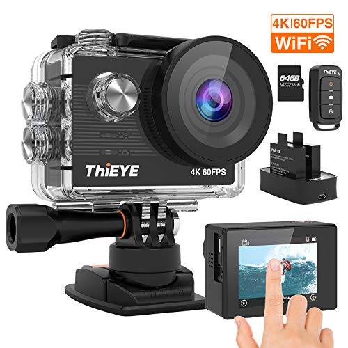 ThiEYE T5 Pro 4K 60fps Action Camera Native 20MP EIS Touch Screen 60M Underwater Waterproof WiFi 8X Zoom Remote Control Video Sports Camera with 2 Batteries and Accessories Kit(64GB Card Included)