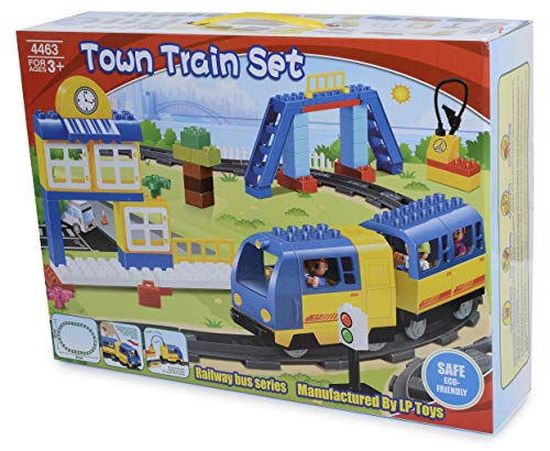 My First Town Train Set Building Bricks Set Motorized Engine Train Set with Sound Battery-Operated - Compatible with All Major Brands ...