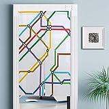 JISMUCI Cortinas,Mapa de la Ruta del Metro a Rayas Vibrantes Imprimir,Decoración del hogar para Cocina,Sala de Estar