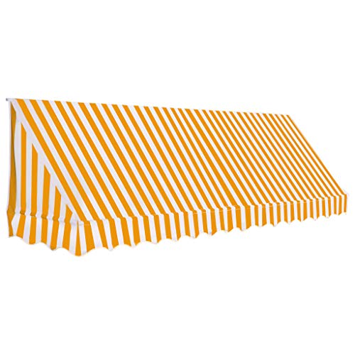 vidaXL Auvent de Bistro Porte 350x120 cm Orange et Blanc Store Abri Soleil