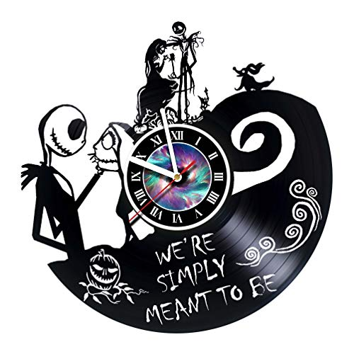 Wall Clock Compatible with Nightmare Before Christmas - Vinyl Record Wall Clock - Get Unique Gifts Presents for Birthday, Christmas, Ideas for Boys, Girls, Men, Women, Adults, him and her