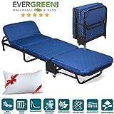EVERGREENWEB-Cómoda cama Plegable de Invitados + Cama plegable Campors- colchón 65x190, 7 cm. Con somier Estable Armadura de Metal y colchón ortopédico para el hogar o el campamento - Almohada gratis