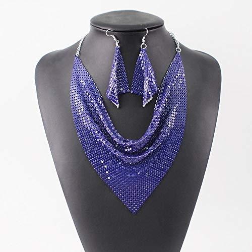 DFG Collar Estilo Elegante Rebanada de Metal Brillante Babero Gargantilla Collares Pendientes Fiesta Boda Moda Conjuntos Boho