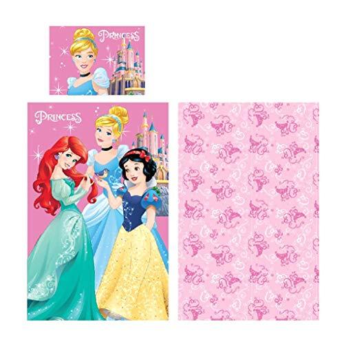 Ropa de cama Disney Princesas–Almohada, 40x 55cm y edredón, 90x 140cm, 100% algodón