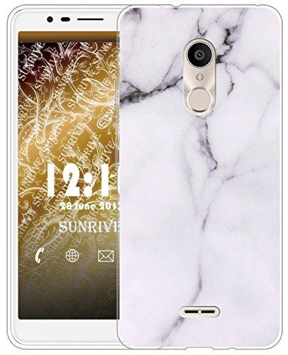 Sunrive Für Alcatel 3C Hülle Silikon, Transparent Handyhülle Schutzhülle Etui Hülle für Alcatel 3C(TPU Marmor Weißer)+Gratis Universal Eingabestift
