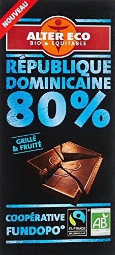 Alter Eco Tablette de Chocolat Noir 80% République Dominicaine Bio et Equitable 100 g
