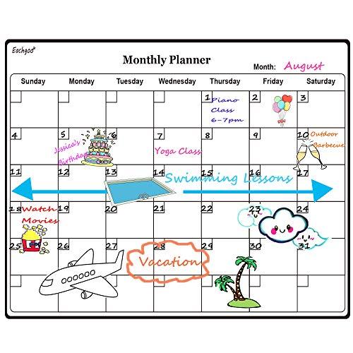 Eachgoo Magnetisches Whiteboard und Kühlschrank-Kalender, Abwischbar Magnettafel Memoboard Ideal für Monatsplanungen, Menüplaner und Küche