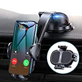 【Ultra Steady】Phone Holder for Car【1 Hand Easy Use】4 in 1 Car Phone Holder Mount for Dash/Windshield/Vent/Desk iPhone Car Holder Fit for iPhone 12 Pro Max/12 Mini/12/11/11 Pro Max/XS/8/Samsung S10 etc