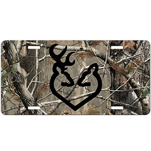 Simply Customized Camo License Plate with Black Buck Doe Deer Heart Front License Plate - Custom Car Tag - Auto Tag Vanity NPLP