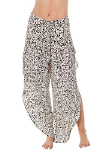 J. VALDI Women's Cape Town Dotted Side Slit Pants Swim Cover Up Ivory/Black L