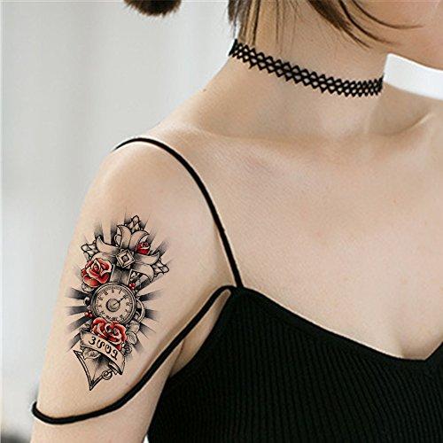 TAFLY Rose Kreuz Uhr Tätowierung für temporäre Tätowierung Aufkleber 5 Blätter