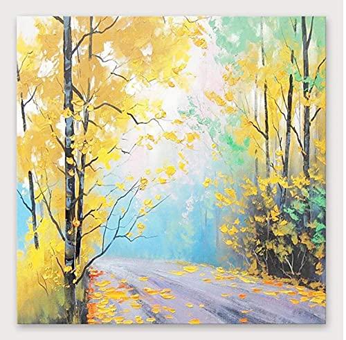 FTFTO Hauptausstattung Ölgemälde Handgemalte Waldweg unter dem Baum Wandkunst Bild dekorative Gemälde für Wohnzimmer Schlafzimmer Sofa Hintergrund Wand Veranda Korridor Wandbild Home Decor