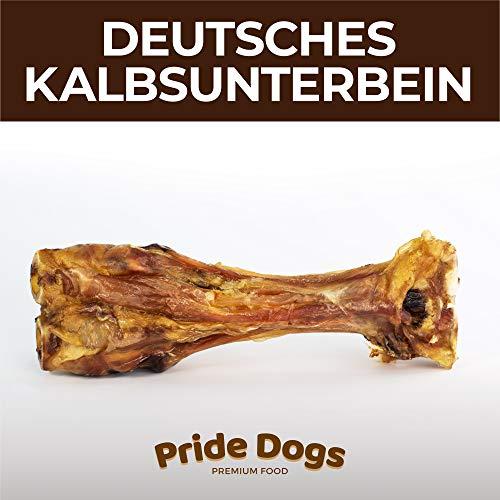 PrideDogs Kalbsunterbein 1 Stück der Premium Kausnack für Ihren Hund | 100% Deutscher Herstellung | im geruchsneutralen Beutel | Kauartikel