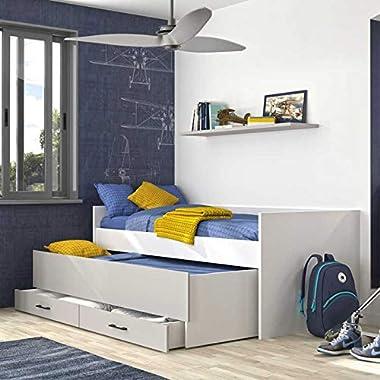 Tousmesmeubles Lit Compact 90 * 200 avec rangements Blanc/Gris - MOONLA - L 97 x l 205 x H 80 - Neuf