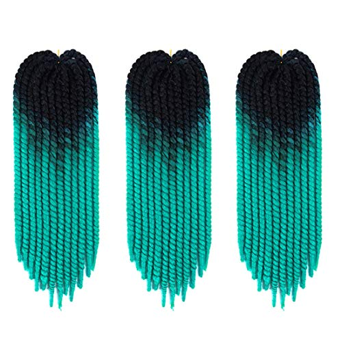 Passion Twist Hair 5 Packs 22 inch Ombre Color Spring Twist crochet braiding hair Jamaican Bounce Synthetic Hair Extensions Water Wave 12 Roots/Pack (black-green)