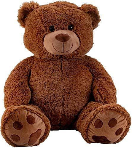 Reusachtige teddybeer knuffelbeer XXL 100 cm hoog pluche beer knuffel fluweelzacht donkerbruin - om van te houden