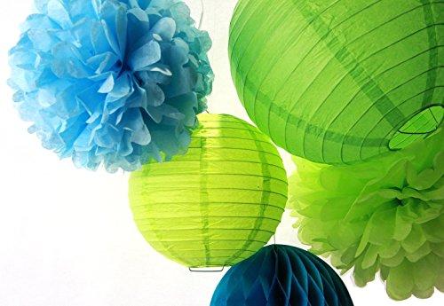 SUNBEAUTY 13er Set Blau & Grün Papierdeko Pompom & Wabenball & Lampion Geburtstag Feier Party Dekoration