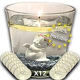 Eco Candle Flotante Vela Eterna 100% Invisible - Reutilizable de por vida - Ilumina su decoración - Combustión de larga duración - Utilizable como hornillo y vela de boda ideal x12