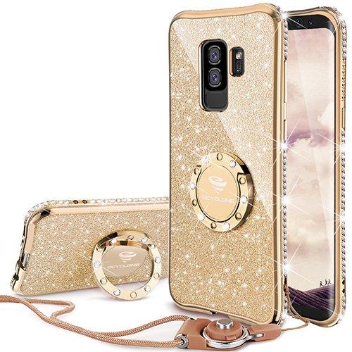 OCYCLONE Fundas para Samsung S9 Plus,Purpurina Brillante Fundas Galaxy S9 Plus para Mujer con Glitter Diamante Anillo,Ultrafina Soft Funda Movil Protector Samsung Galaxy S9 Plus,Oro