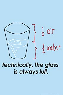 Gotham City Online Technically The Glass is Always Full Humor Poster 12x18 inch
