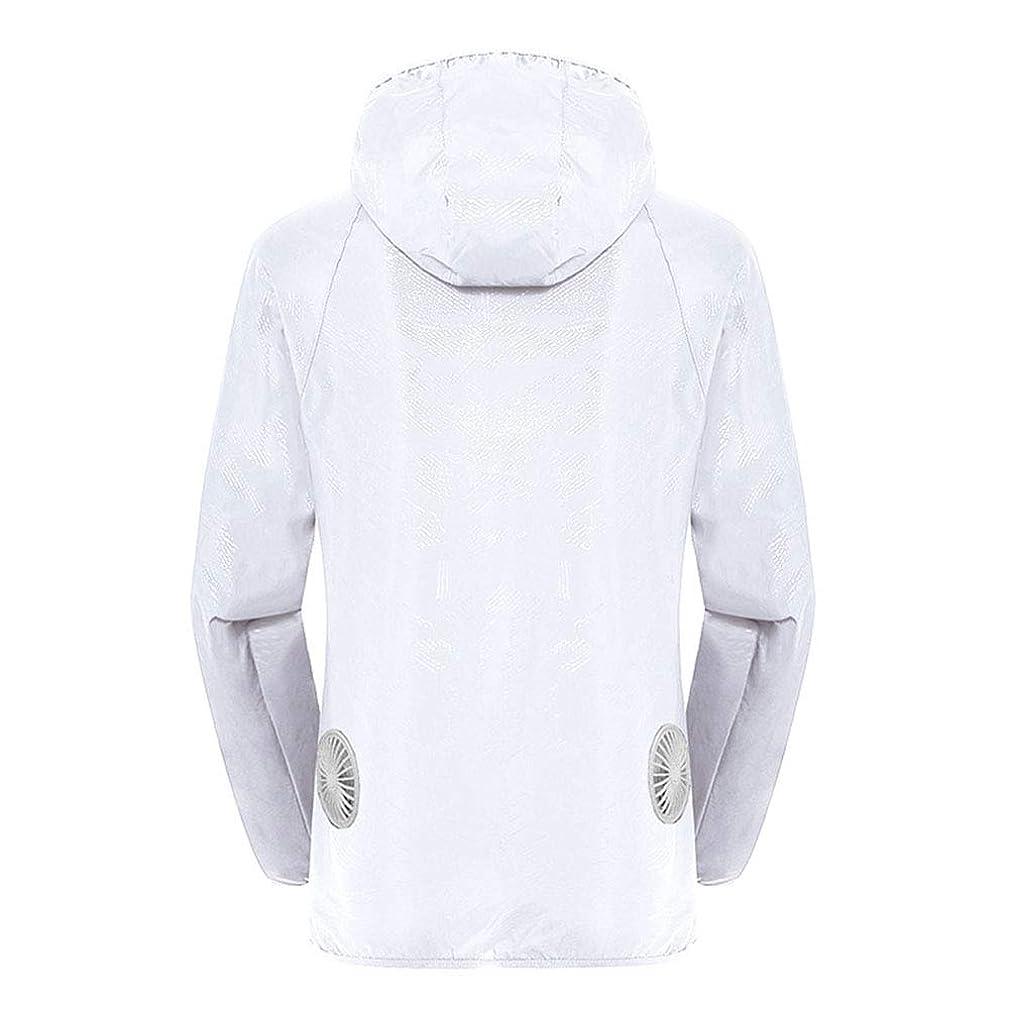 こどもセンター椅子意見夏のスマート3速エアコンジャケット日焼け止め衣類釣りスーツ水のしぶきの衣服の飛散を防ぐ(充電宝物を含む),White,XXL