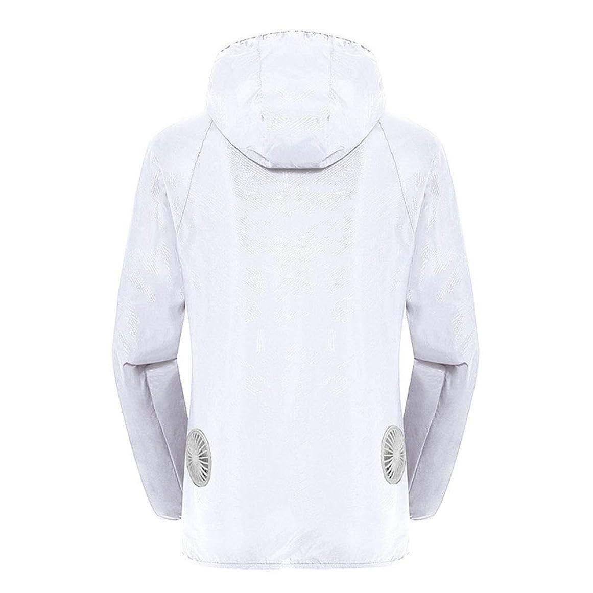 高揚したユニークな分解する夏のスマート3ギアエアコンジャケット日焼け防止服釣りスーツ水しぶき防止服をクールダウン(宝物なしで充電),White,L