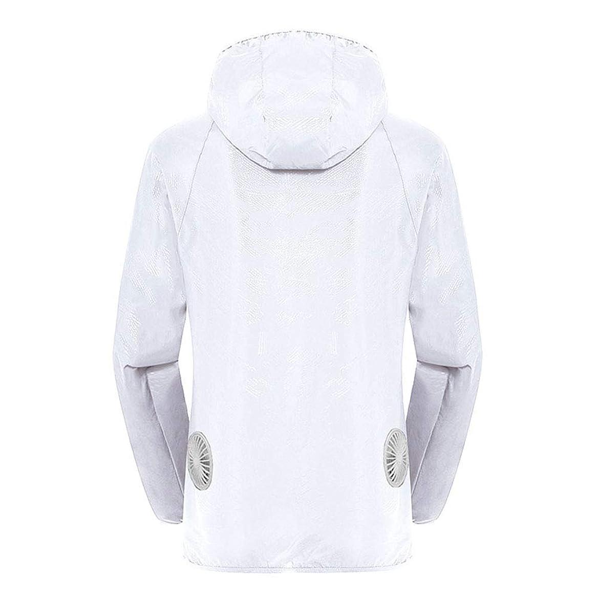 約束する贅沢最も遠い夏のスマート3速エアコンジャケット日焼け止め衣類釣りスーツ水のしぶきの衣服の飛散を防ぐ(充電宝物を含む),White,XXL