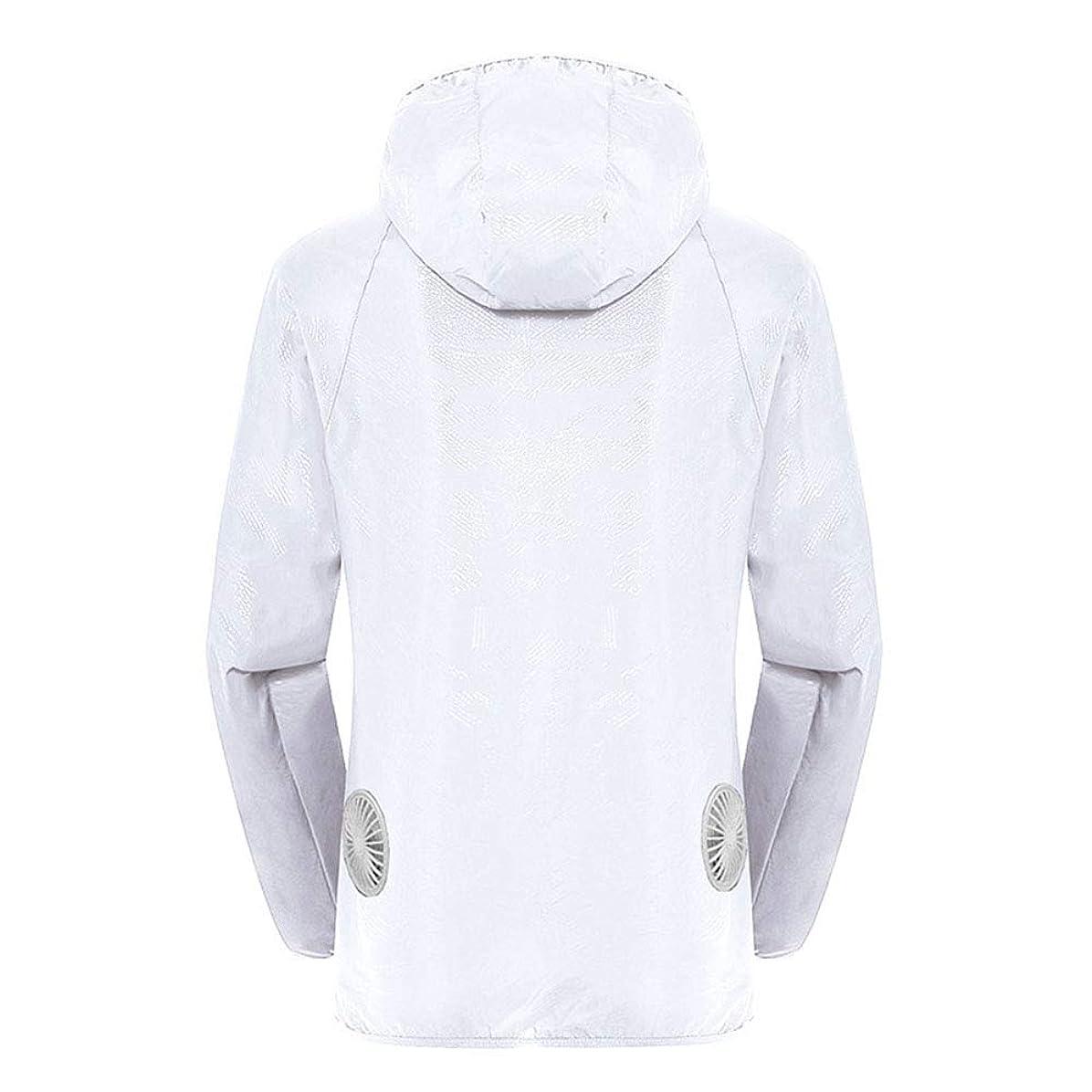 遺伝子クライマックスためらう夏のスマート3ギアエアコンジャケット日焼け防止服釣りスーツ水しぶき防止服をクールダウン(宝物なしで充電),White,L
