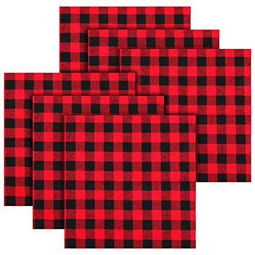 6 Pieces Christmas Buffalo Plaid Cotton Fabric 20 x 20 Inch Christmas Fat Quarters Fabric Red Black Fabric Precut Cotton Fabric Square Sewing Patchwork for Christmas DIY Sewing Quilting