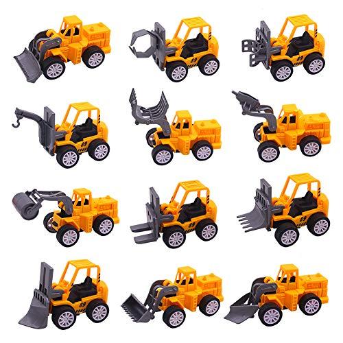 Koogel Spielzeugautos, 12 Stk. Mini Legierung Bagger Baufahrzeuge Fahrzeuge Mini Lastwagen Autos Set für Kinder