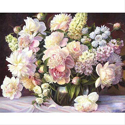 DIYdigitaal olieverfschilderij,handgeschilderde kleuren,glazen vaas met bloemschildering, 40 * 50cmframeloos