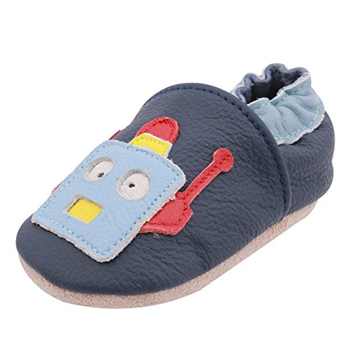 iEvolve Robot Baby Shoes Baby Toddler Soft Sole Prewalker First Walker Crib Shoes Baby Moccasins(Navy Blue, 12-18 Months)