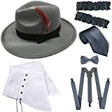 1920s Trilby Manhattan Gangster Fedora Hat, Gangster Spats,Garters Armbands,Suspenders Y-Back Elastic Trouser Braces,Pre Tied Bow Tie,Gangster Tie (OneSize, Grey)