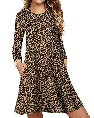 CNFIO Elegant Freizeitkleider T Shirt Kleid Damen Leopard Langarm Kleider Abenkleider Tunika Minikleider mit Taschen Herbst Braun S