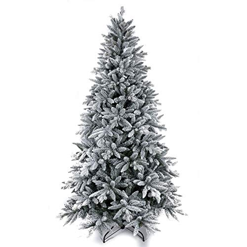 7FT Artificial Christmas Tree,Snow Flocked Christmas Tree ,Premium PVC Needles/Solid Metal Stand and 1401 Branch Snow Tips , Full Tree for Indoor and Outdoor