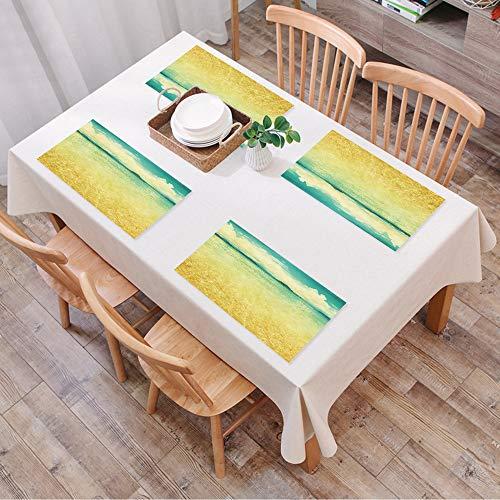Set de Table Antidérapant Lavable Résiste à la Chaleur Rectangulaire Sets de Table pour Restaurant,Plage, vue mer, dans, grunge, et, sty,Table à Manger en Cuisine ou Salle à Manger, 45x30 cm Lot de 4